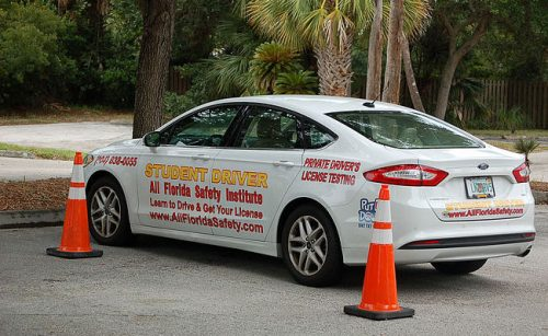 Student driver car parked at All Florida Safety Institute